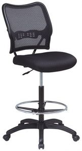 Peachy Space Seating Deluxe Airgrid Back With Mesh Seat Adjustable Footring Pneumatic Seat Height Adjustment And Nylon Base Drafting Chair Black Theyellowbook Wood Chair Design Ideas Theyellowbookinfo