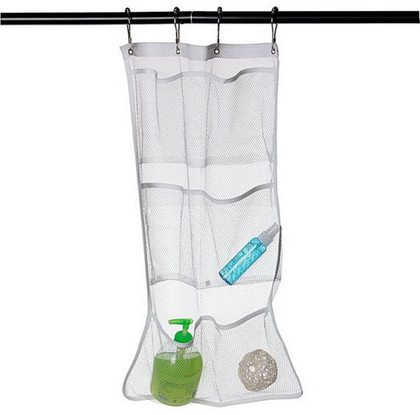 Mesh Shower Organizer Hanging Bathroom Caddy 6 Pockets Hang Curtain Rod with 4 Rings