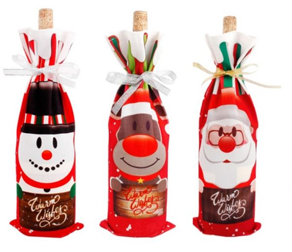 0a870a9605301 Christmas Wine Bottle Cover Table Decoration Christmas Gift Christmas Hats  Cap Santa Claus Bottle Cover Xmas Party Gift Set of 3