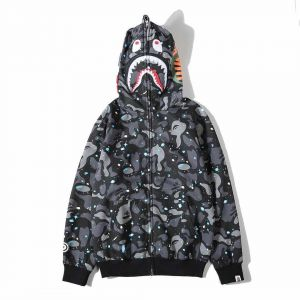 684b45a1022 Bape Shark Pullover Hoodie Glow in dark Space Unisex fashion Jacket coat  Skateboard Hooded Sweatshirt For Man Woman