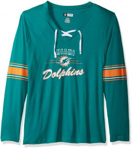 a44cb6d07 NFL Miami Dolphins Women L S JERSEY V NECK TEE