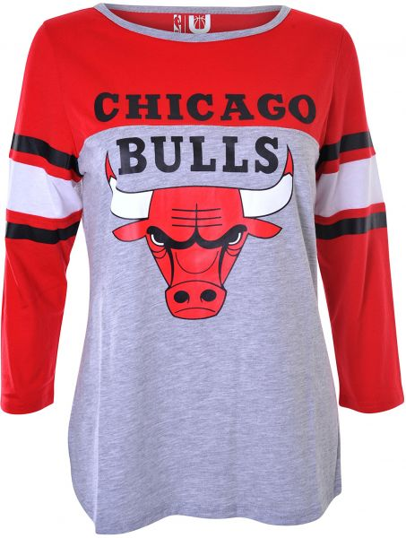 NBA Chicago Bulls Women s T-Shirt Raglan Baseball 3 4 Long Sleeve Tee Shirt 3781c4d525