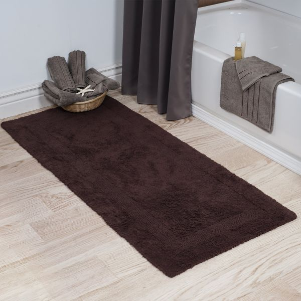 Bedford Home 100 Cotton Reversible Long Bath Rug Chocolate