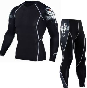 Men's Sports Suit Tights Long Sleeve Men's Fitness T-Shirt Quick-drying Super Flex PRO Set-X