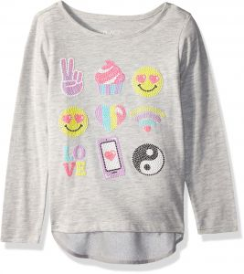 f3b841ef The Children's Place Big Girls' Graphic Long Sleeve Tee Shirt, H/T Falcon  86120, S (5/6)