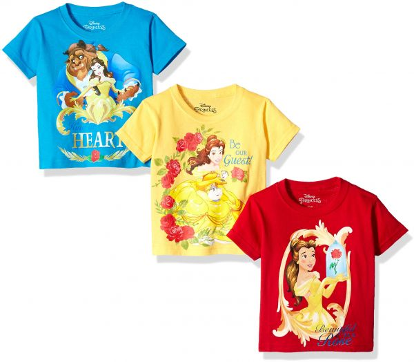 437fd20b4 Disney Toddler Girls  Beauty and The Beast 3-Pack Short Sleeve T-Shirts