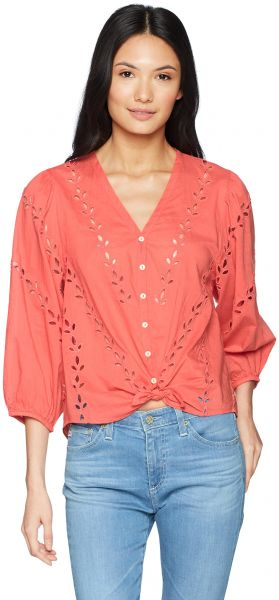 Lucky Brand Women s Eyelet Peasant Blouse 8605bbf3c