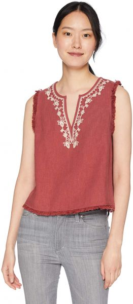 ff3aadc1a663d4 Moon River Women s Embroidered Fringe Top