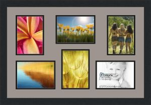 Arttoframes Collage Photo Frame Double Mat With 6 Openings And Satin