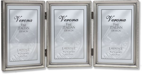 Lawrence Frames Antique Pewter 4x6 Hinged Triple Picture Frame