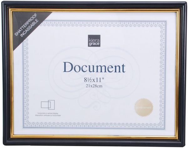 Kiera Grace Accent Document Frame With Plexi Sheet 85 By 11 Inch