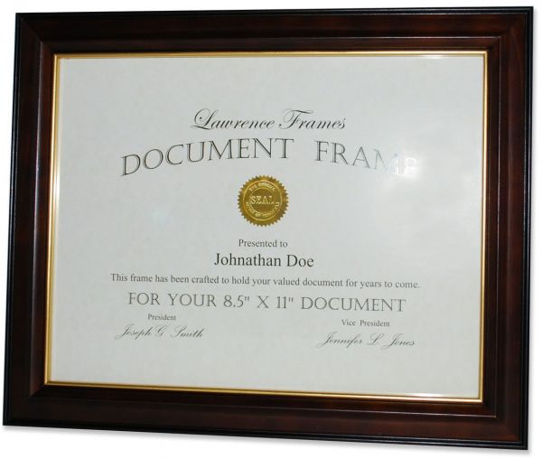 Lawrence Frames Walnut And Black Wood 85x11 Picture Frame Gold