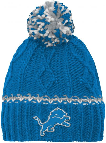 NFL by Outerstuff NFL Girls 7-16 Cable Knit Rib Cuffless Hat-Lion Blue-1  Size 24b8dc8b7bf1