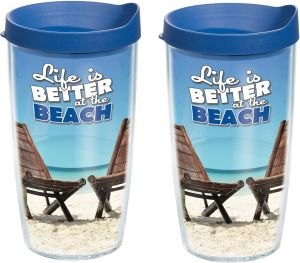 Blue Tervis 1087484 NHL Columbus Blue Jackets Primary Logo Tumbler with Emblem and Red Lid 2 Pack 16oz