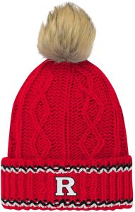 0e77c03f72a NCAA Rutgers Scarlet Knights Youth Girls Core Furry Pom Cable Knit Hat