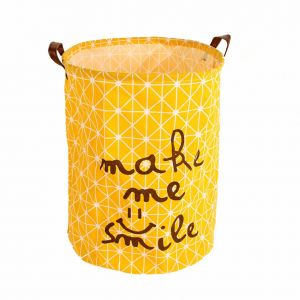 Home large capacity storage barrel cotton linen material hamper basket toy dirty clothes storage basket foldable waterproof cute letter print pattern yellow ...