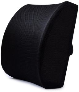 Car Memory Foam Cotton Lumbar Support Back Cushion, Lower Back Pain Relief Back Pillow for Computer/Office Chair, Car seat, Recliner(Black)