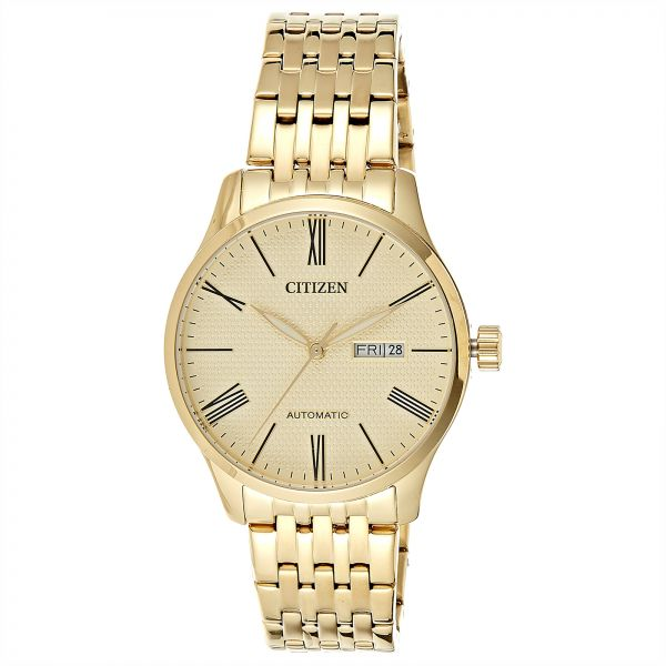aa3e1ecab38 Citizen Men Gold Dial Stainless Steel Band Watch - NH8352-53P. by Citizen