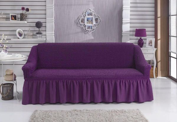 Turkish cotton Couch cover 6 meters For all shapes of sofa- Dark purple