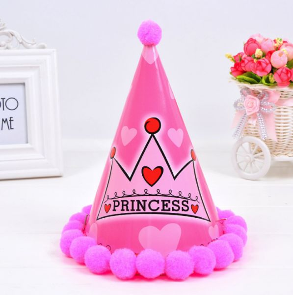 Birthday hat baby age adult party hat fur ball cap ball cap for girls pink  | Souq - UAE