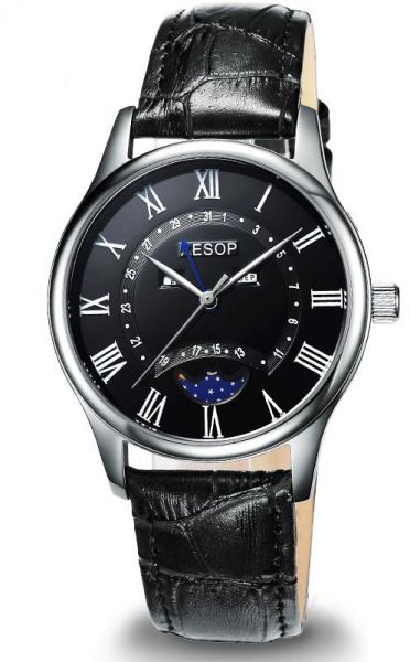 1a5099dc71d AESOP Fashion Men Watch Men Sapphire Crystal Quartz Wrist Wristwatch Moon  Phase Leather Male Clock Relogio Masculino Hodinky