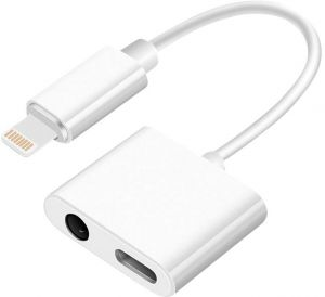 2-in-1 Adapter Cable for iPhone Dual Ports 8 PIN to 3.5mm Female Charger Audio Splitter Cable Adapter for iPhone