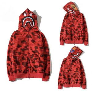 e0401b7d9a50 Bape Shark Red Classic Pullover Hoodie Unisex Jacket coat For Men And Women