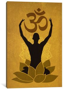 Icanvasart 1 Piece Om Lotus Flower Pose Green Canvas Print By