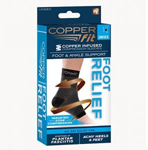 997f8803c7 Copper Fit Unisex-Adult's Foot Relief Compression Ankle Sleeve, Black,  Medium