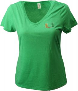 Medium Forest Green Levelwear LEY9R NCAA Miami Hurricanes Adult Women Entice Crested V-Neck Tee