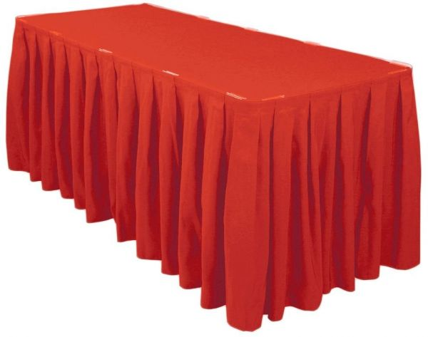 779cf358afcc LinenTablecloth 21 ft. Accordion Pleat Polyester Table Skirt Red | KSA |  Souq
