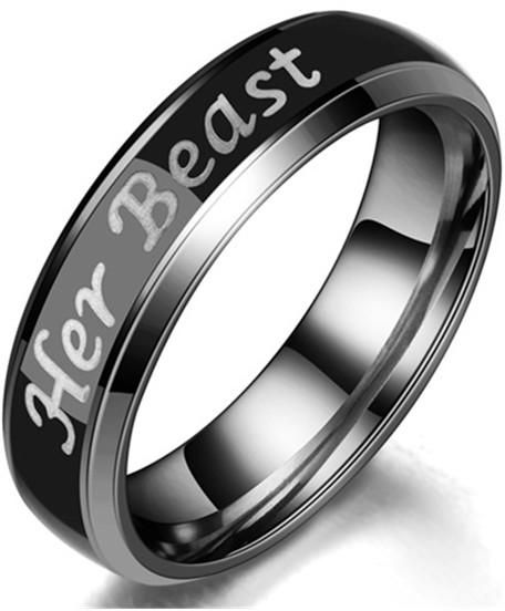 Stainless Steel Engraved His Beauty Her Beast Letter Lover Wedding