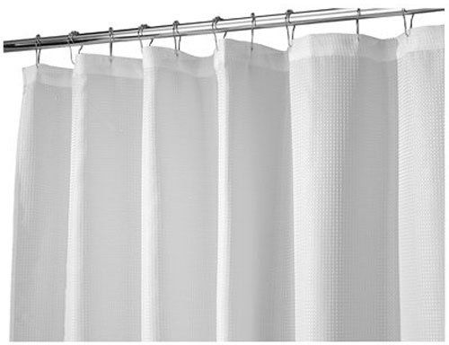 InterDesign Carlton Soft Fabric Shower Curtain Long 72 X 84 White