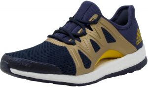 56707dba69d8f Adidas Women s Pureboost Xpose Trace Blue   Tactile Gold Legend Ink Ankle- High Fabric Running Shoe - 10M