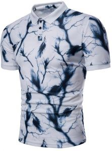 1738e0e1 SUNBOY Men's Polo Shirt Lightning Feather Print Short Sleeve Lapel T-shirt  Polo Shirt Men's Body Shaping Short Sleeves