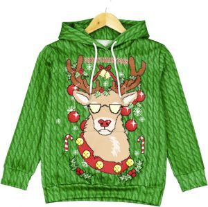 32e6dfabbb05 Christmas children s wear 3D printed elk boy long-sleeved hooded  sweatershirt M