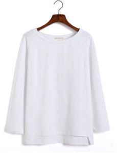 1e6624037d4 Plus Size Women's fashion O-neck Long Sleeve Cotton Solid Color Women  Blouses and Casual Autumn Sweaters for Women (SIZE-M) - white Color