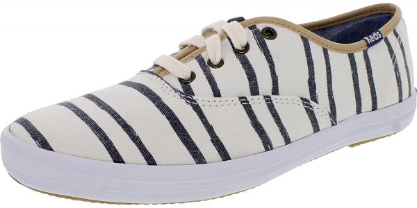 226f024a6947 Keds Women s Champion Wash Stripe Off White Ankle-High Canvas Flat ...
