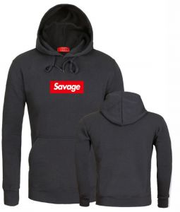 c6b340ac19a6 Savage hooded sweater men and women fleece printed loose long-sleeved  pullover casual fashion coat-black  XXL