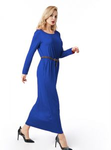 7481146a3 Women Clothing Spring Autumn Floor Length Dress O Neck Long Sleeve Pocket  Pleated Waist Maxi Long Dress with Belt