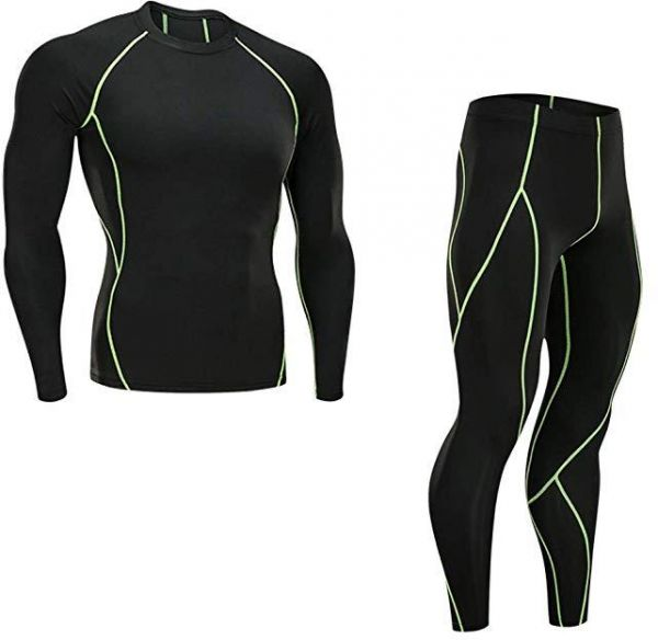 Long-Sleeved Tights Men's Sports Suits Quick-Drying Workout Clothes Running Training Elastic Compression Body Sculpting Clothes,size:XL