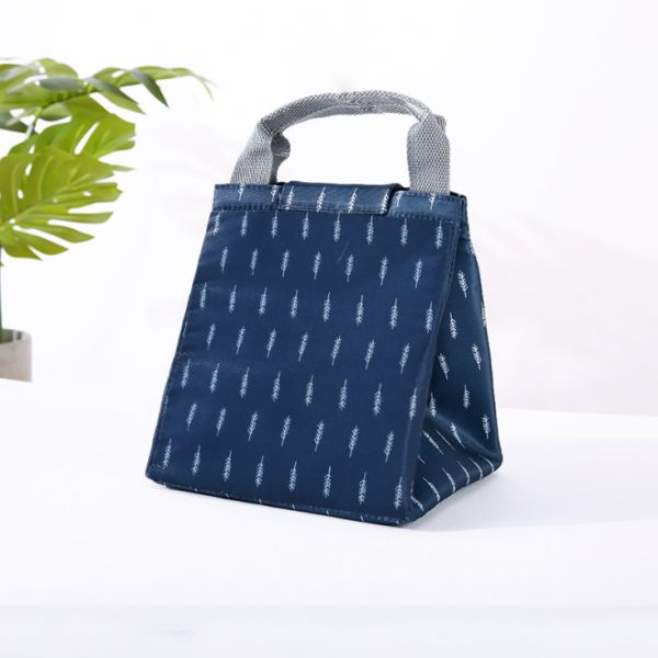 Navy Portable Insulated Canvas lunch Bag Thermal Food Picnic Lunch Bags for Women kids Men Cooler Lunch Box Bag Tote