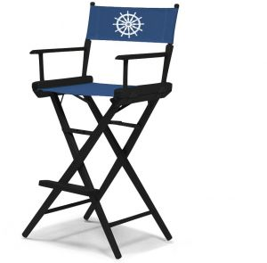 Amazing Telescope Casual World Famous Bar Height Director Chair Black Finish With Marine Blue And White Motif Cover Pdpeps Interior Chair Design Pdpepsorg