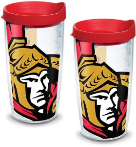 Tervis 1093999 University of Toronto Tumbler with Wrap and Red Lid 2 Pack 16oz Clear