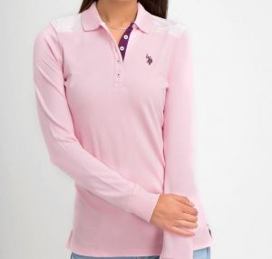 7d782b1ed4d U.S. Polo Assn. Womens Solid Long Sleeve Pique Polo Shirt with Lace