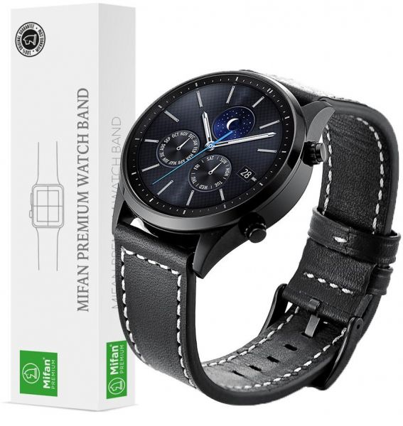 739e40737b3 Samsung Gear S3 2018 Galaxy Watch 46mm Band Replacement Mifan Premium Soft  Supreme Style Genuine Leather 22mm Width Black Strap with White Stitch Line  ...