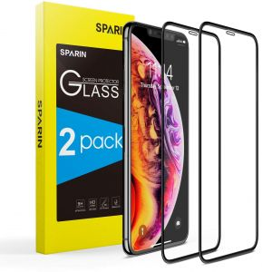 SPARIN iPhone Xs / iPhone X Screen Protector Full Coverage 2 Pack , iPhone Xs/iPhone X Curved Tempered Glass Screen Protector with Edge to Edge Ultra Clear ...