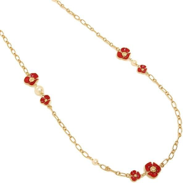 c443b606238b Tory Burch Fleur Rosary Chain Necklace - Red And Gold