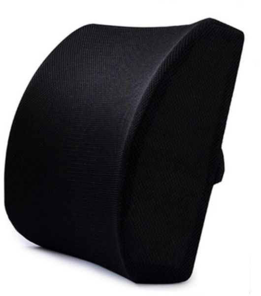Memory Foam Lumbar Support Back Cushion With 3D Mesh Cover Balanced Firmness Designed for Lower Back Pain Relief- Ideal Back Pillow for Computer/Office Chair, Car Seat, Recliner etc. - Black