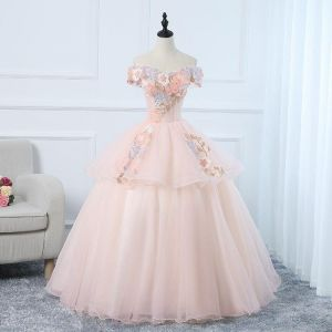91abfa82dacfa Candy Color Evening Dress Two Tiered Lace Ball Gown Boat Neck Off the  Shoulder